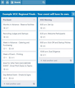VCIC event checklist